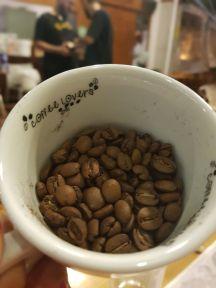 grãos de café numa xícara