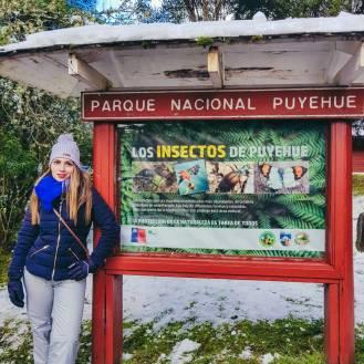 menina em frente à placa do parque nacional Puyehue
